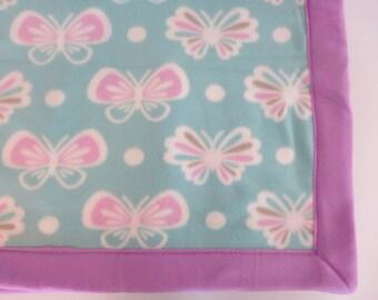Butterfly Fleece Blanket // Double Sided Fleece Throw // Reversible Butterfly Blanket