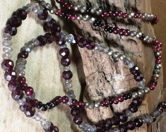 """Garnets and Labradorite with Iron Pyrite and Spinel, Long Necklace, 40"""""""