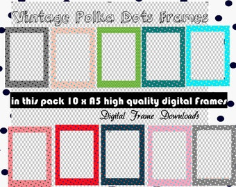 Vintage Polka Dot Digital Frames