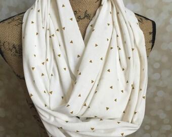 Lightweight Cream & Gold Tiny Triangles Knit Secret Pocket Infinity Scarf