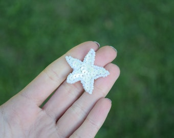 """4 Tiny White Star Patches with Sequins and Beading 0.75"""""""