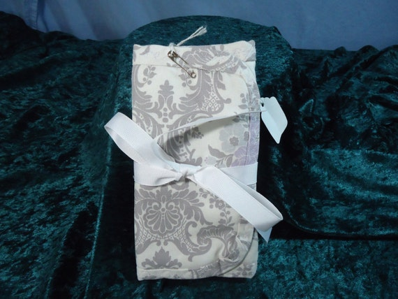 Gray & Purple Damask Travel Jewelry Organizer