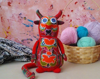 Hand knitted little devil toy, soft toy, plush toy, stuffed toy