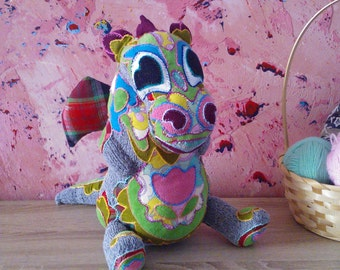 Hand knitted baby dragon toy - soft toy, plush toy ,stuffed toy