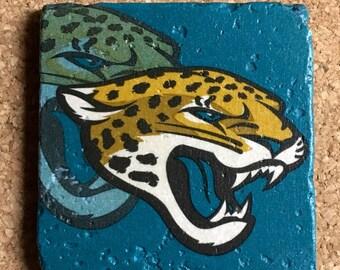 Jacksonville Jaguars Coasters ~  Set of 4 Stone Coasters ~Coasters ~ Natural Stone Tile Coasters ~ Football Coasters ~