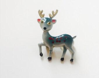 Vintage 60s Grey Deer Brooch, Bambi Pin, Fawn, 60s Jewellery, Kitsch