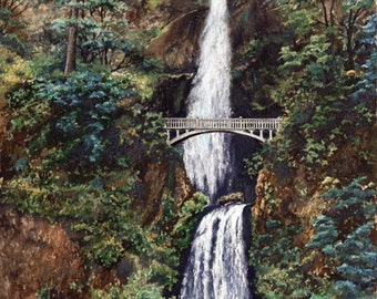 Multnomah Falls, Oregon Landmark,Natural scenic wonder, historic Oregon site,beautiful waterfall,fine art print