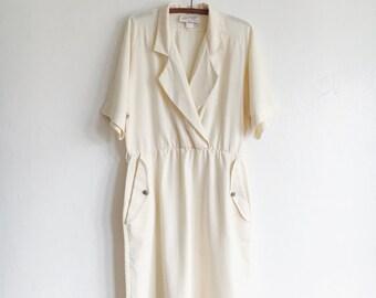sculptural vintage linen dress // beige linen day dress