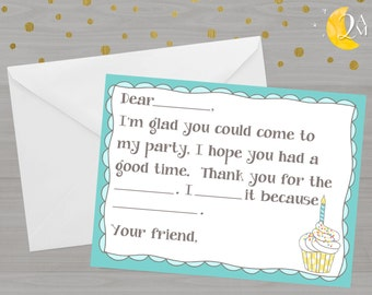 Fill-In-The-Blank Thank You Note Cards//Cupcake Birthday Party Thank You Cards//INSTANT DOWNLOAD//Printable Digital Thank You Cards//Girly