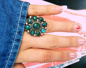 Turquoise Native American silver ring