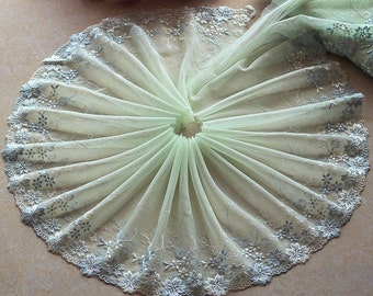 High Quality Floral Embroidered Lace Trim  Tulle Lace Trim 8.66 Inches Wide 2 yards X0140