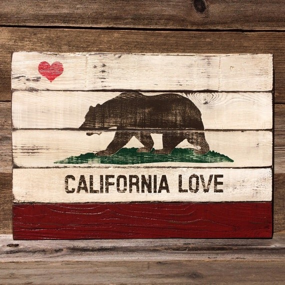 Reclaimed Flooring California: Reclaimed Wood California LOVE State Flag Painting From