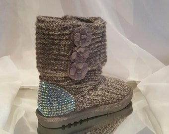 BLING Kids Custom Knit Rhinestone Boot, Rhinestone Embellished Kids Boot, Custom Boots, Kids Blinged Boots, Gray Bling Boots