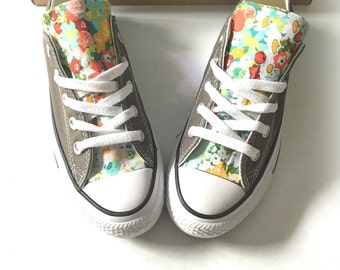 Floral Converse Shoes, Floral Chuck Taylors, Flower Converse, Custom Chucks, Custom Shoes