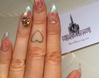 x Shatterd Glass x false nails see through shatterd irridecent effect swarovski diamond false nails