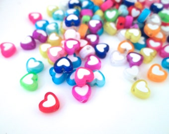 Multicolor Heart Beads, 8x7mm Kawaii Beads, #738