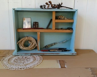 Pick up only...Vintage drawer upcycled to shelf/ desk or table top/  ooak / blue with wood  inserts/rustic