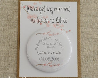 Pink - Cherry Blossom - Save The Date - Blossom Wedding - Wedding Magnets - Rustic Wedding - Wedding Invitation - Wedding Stationery
