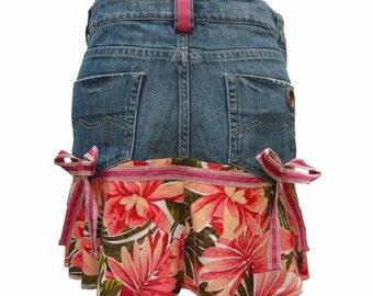 Flower Print Ruffle and Bows Upcycled Short Denim Skirt