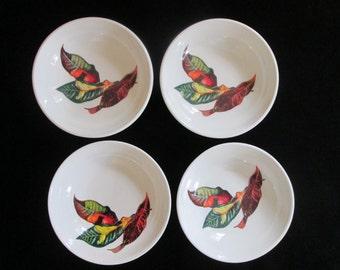 Vintage Santa Anita Ware California Croton Leaves Flowers of Hawaii Fruit Cereal Bowls Set of 4