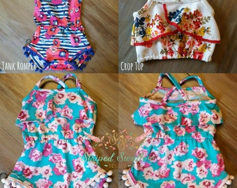 Baby Emerie Romper & Crop Top PDF Pattern Sizes NB-2T