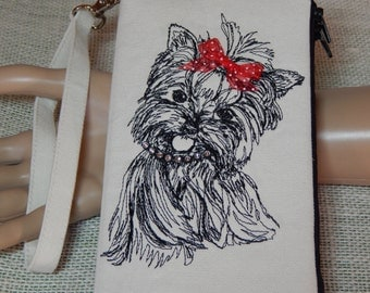 CLOSEOUT SALE!!!!  Yorkie Lovers//Wristlet Wallet/Embroidered Pets/Gifts for Her