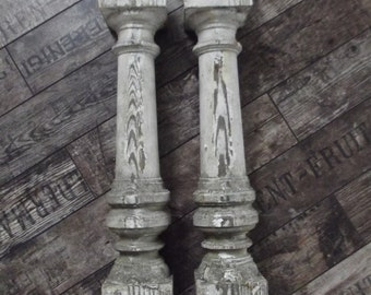 Antique French wooden balusters, set of 2, architectural salvage, pillars, shabby chic