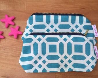Teal lattice cosmetic / make up bag