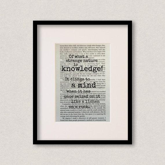 Nature Quotes Frankenstein: Frankenstein Book Quote Print Inspirational Quote