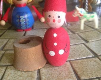 Scandinavian Christmas Tomte Gnome Candle Holder | Bo Svensk Hemslojd Vintage Wooden Candle Holder | Christmas Gnome | Christmas Elf