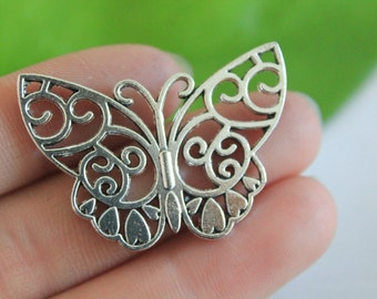 Own Charm ~Butterfly Charms Pendants Antique Silver Tone Large Charm 24*38mm