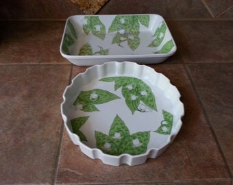 """Vintage Deep Dish Tart Quiche 10"""" x 2"""" and Casserole 13"""" x 9"""" by Fantasia, Porcelain, Lily of the Valley Flower Pattern, Excellent Condition"""