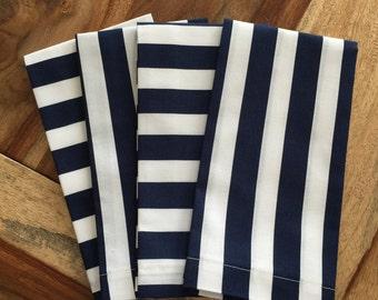 Navy and white stripe Napkin-Navy, white-Set of 2 or 4