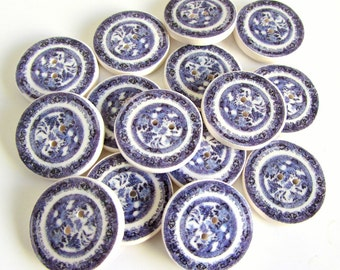 Willow pattern plate buttons 3/4""