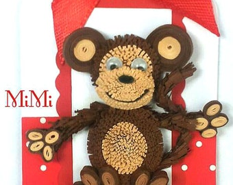 3 x Handmade Quilling Animals Christmas Gift Tag Kids/Children - Monkey