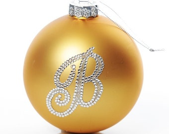 Personalised Gold Bling Monogram Bauble