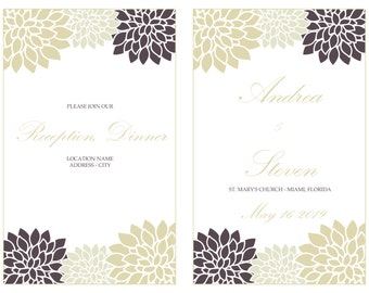Printable Mums Foldover Wedding Program Template, Ivory Cream Chrysanths Reception Program Booklet, INSTANT DOWNLOAD, Editable Colors & Text