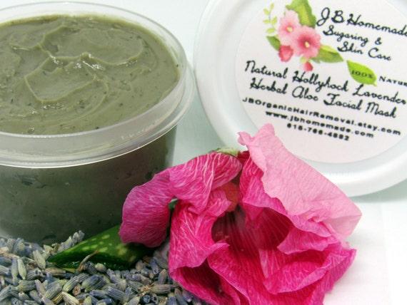 Natural Hollyhock Lavender Herbal Aloe Facial Mask