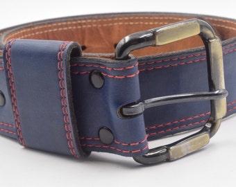 Navy blue leather belt, wide navy belt, blue and red belt, 26 inch belt, black belt buckle, small nautical belt, women's vintage belt