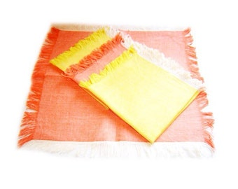 Vintage Russian Set of 4 Linen Table Napkins in orange and yellow with Fringe Edge- table napkins,  Orange and Yellow Linen Napkins