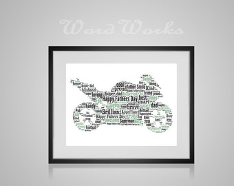 "Personalised Fathers Day Motorbike Word Art  **Buy 3 prints get the 4th FREE**  Use coupon code "" MYFREEONE """