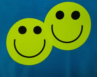 2 Large Hi Viz Smiley face stickers - Be Bright Be Safe Be Seen (42-02)