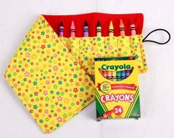 Crayon Roll Stars, Crayon Holder, Birthday Party Favor, 16 crayon holder, 24 Crayola Crayons Included, Crayon Keeper, Crayon Wallet