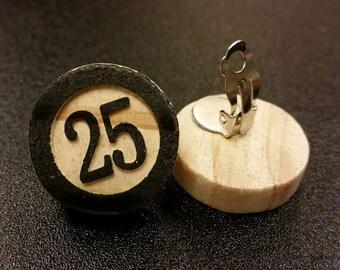 Wooden Numerical Earrings