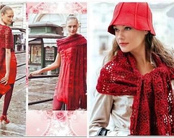 Femmes longue écharpe en rouge crochet / custom