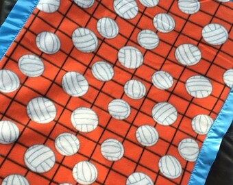 "Orange Volleyball Fleece Blanket with Blue Satin Binding 30""x36"""