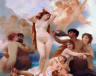 "William Bouguereau ""The Birth of Venus"" 1879  Reproduction Digital Print Roman Goddess Love Beauty Fertility Desire"