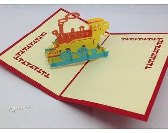 3D Pop Up Steam Locomotive Card