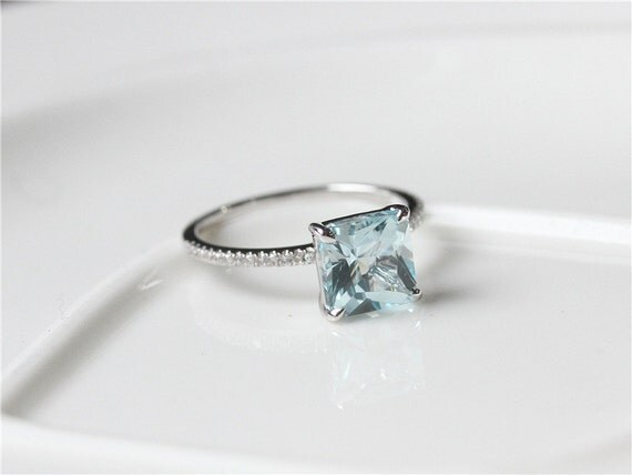 unique 8x8mm princess cut aquamarine engagement ring 14k