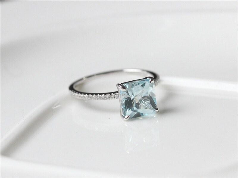 unique 8x8mm princess cut aquamarine engagement ring 14k white